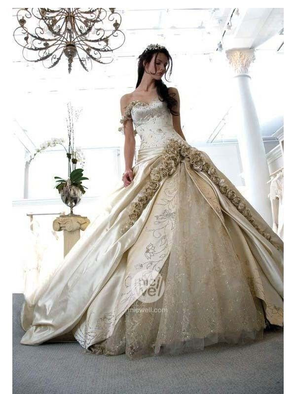 Royal Ball Gown One Strap Flowers Decorated Embroidery Satin Lace Wedding Dress at Chapel Train - Ball Gown Wedding Dresses - Wedding Dresses