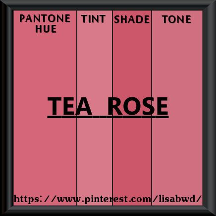 Pantone Seasonal Color Swatch Tea Rose Pink Poppy To