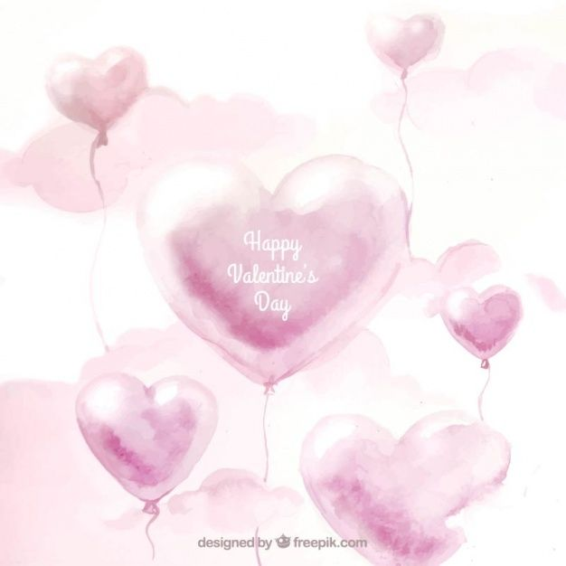 Watercolor Valentine Background With Balloons And Clouds In 2020