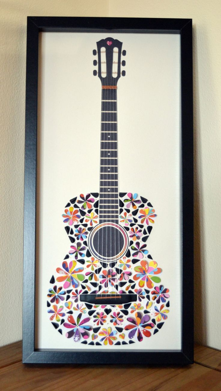 Framed Guitar Picture made from folded paper hearts. Guitar collage, mosaic effect. Gift for guitar lover. 60s inspired folk guitar picture. by LoveArtsbyMichelle on Etsy