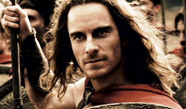In case you weren't sexy enough, here's long hair and a beard. Damn! IDK why but now it's hard to see Michael Fassbender as Stelios in 300. Maybe cause this was the first thing I saw him in?