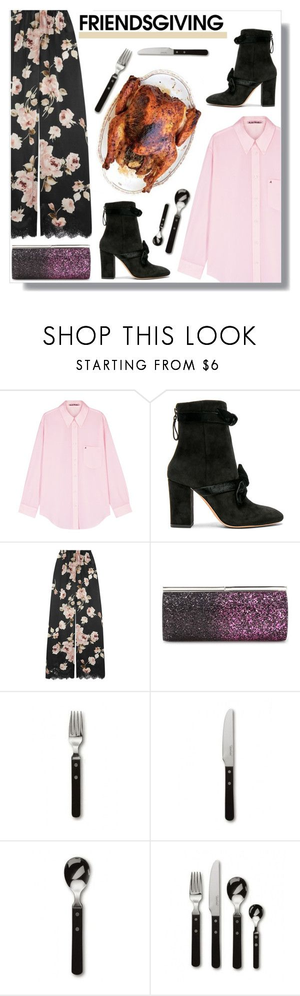 """""""Friendsgiving!"""" by peony-and-python ❤ liked on Polyvore featuring Acne Studios, Alexandre Birman, Rosamosario, Jimmy Choo, Robert Welch, chic, thanksgiving, thankful and friendsgiving"""