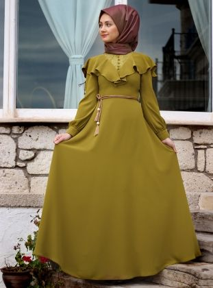 Matmazel Abiye Elbise- Haki - Minel Aşk :: HoopSepete