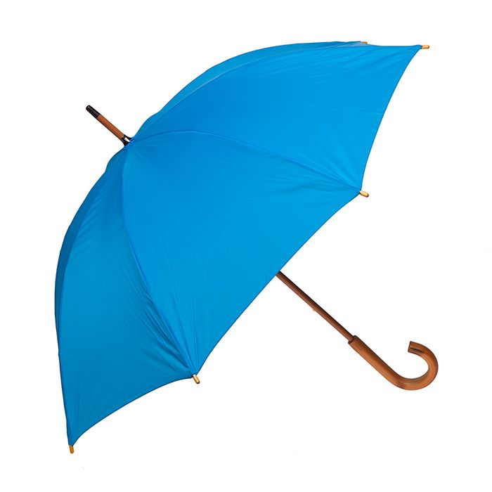 Clifton Classic Manual Timber Series Long Electric Blue - Large size, great walking rain umbrella featuring wooden curved handle and shaft.
