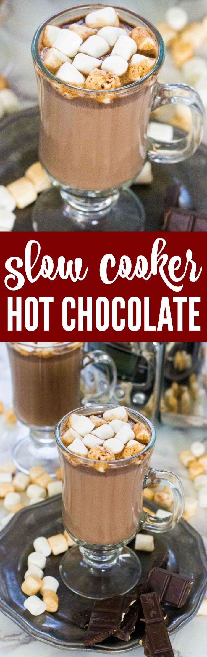 This Crockpot Hot Chocolate Recipe is a Simple and EASY Party Recipe and Holiday Treat for a Snow Day or Christmas Hot Drink Recipe in the Slow Cooker!