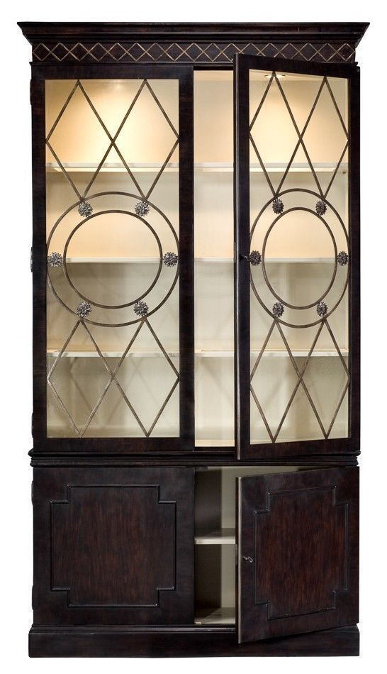 China Cabinet Solid Knotty Oak Dark Finish Lighted Interior Handmade Ships free #ArtDeco #sarreid