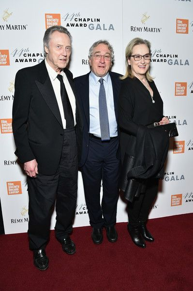 Meryl Streep Photos Photos - (EXCLUSIVE COVERAGE)  (L-R) Christopher Walken, Robert De Niro and Meryl Streep backstage during the 44th Chaplin Award Gala at David H. Koch Theater at Lincoln Center on May 8, 2017 in New York City. - 44th Chaplin Award Gala - Backstage