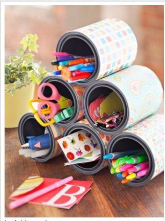 Opbergen van kleurtjes, stiften, scharen,... kids