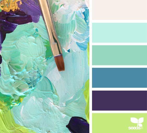Painterly Hues via @designseeds #color #palette #designseeds #seeds #seedscolor #mint #aqua #purple #seaglass