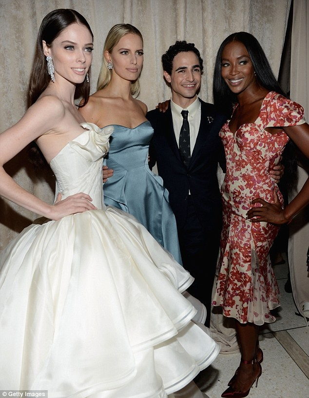 Posen poses backstage with his models: From left, Rocha, Karolina Kurkova and Campbell: Poses Backstage, Articles, Campbell, Catwalks, Karolina Kurkova, Gowns, Designers, Posen Poses, Left