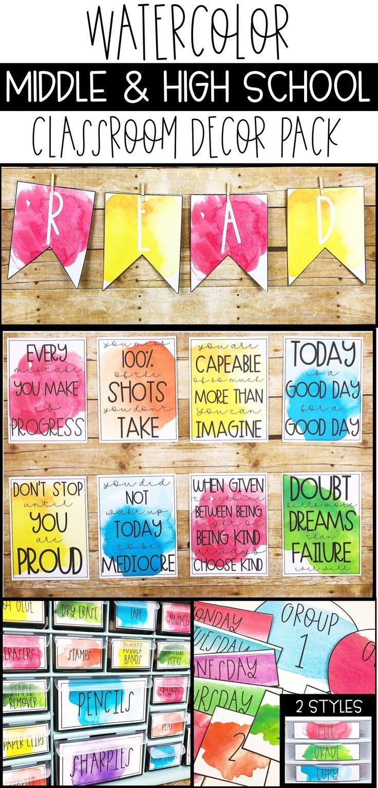 Watercolor Classroom Decor Editable Classroom Themes High