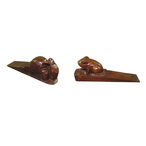 Frog and Elephant Door Stoppers (Set of 2) Material: Teak Solid.. Weight: 5 Lbs.. Product Size: 7.5L x 1.8W x 2.5H. Knock Down: No.  #D-ArtCollection #HomeImprovement