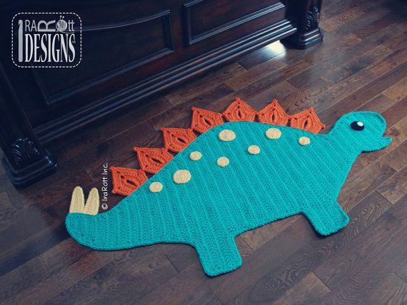 CROCHET PATTERN Spiky the Stegosaurus Dino Rug by IRAROTTpatterns