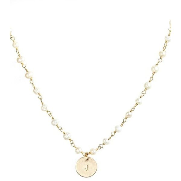 Nashelle 14k-Gold Fill Mini Initial Disc Pearl Necklace ($110) ❤ liked on Polyvore featuring jewelry, necklaces, gold fill pearl j, gold filled chain necklace, initial pendant, white pearl necklace, pearl chain necklace and 14k pearl necklace