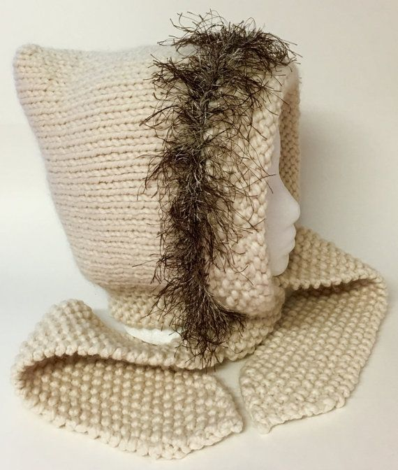 Women's Hand-Knitted Pixie Hat with Attached by RozelynnsNeedleArt