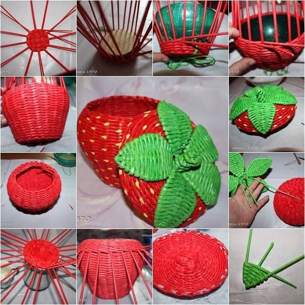 Woven paper craft is a great way to recycle old newspaper and magazines. This strawberry shaped basket from recycled newspaper is so cute, do you want to try?