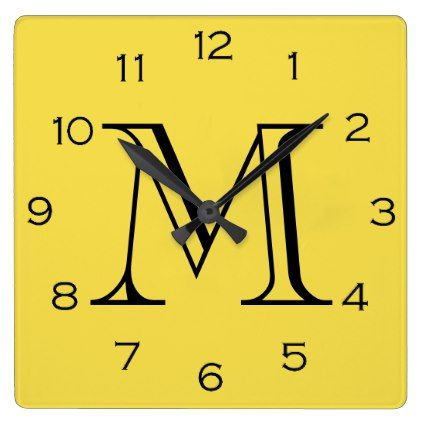 Monogram Black Numbers On Yellow Wall Clock - home gifts ideas decor special unique custom individual customized individualized