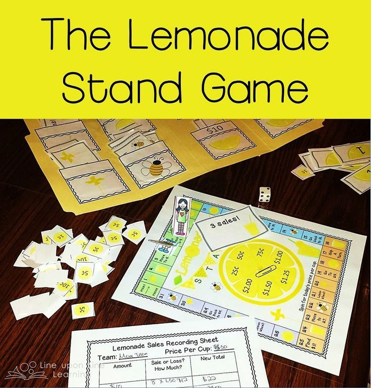 Lemonade Stand Game -- Practice addition/subtraction and multiplication in this printable file folder game. A nice way to ease in to the homeschool year.