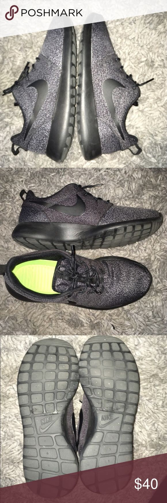 Black and gray Nike Roshe. Gently worn! These are a deep gray and black speckled Nike Roshe. I am actually re-poshing as they're half a size too big and I've never worn them. They run completely true to size. I do not have the box. Extremely comfortable. Nike Shoes Sneakers