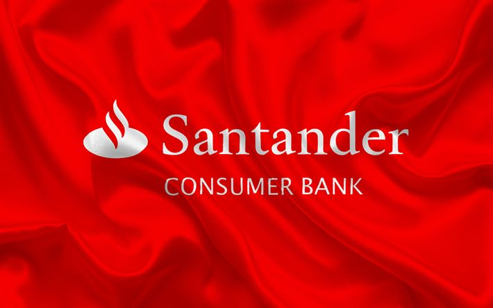 Download imagens Santander, banco espanhol, Santander logotipo, emblema, de seda vermelha da bandeira