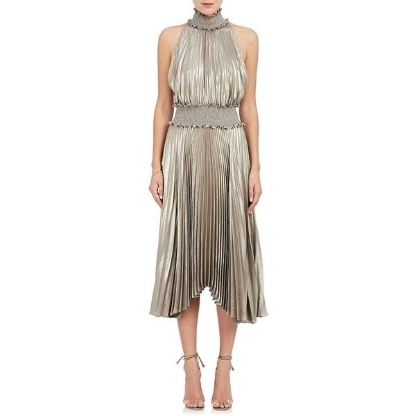 A.L.C. Women's Kravitz Lamé Halter Dress (€580) ❤ liked on Polyvore featuring dresses, gold, holiday dresses, halter neck cocktail dress, brown dress, smock dress and halter dress