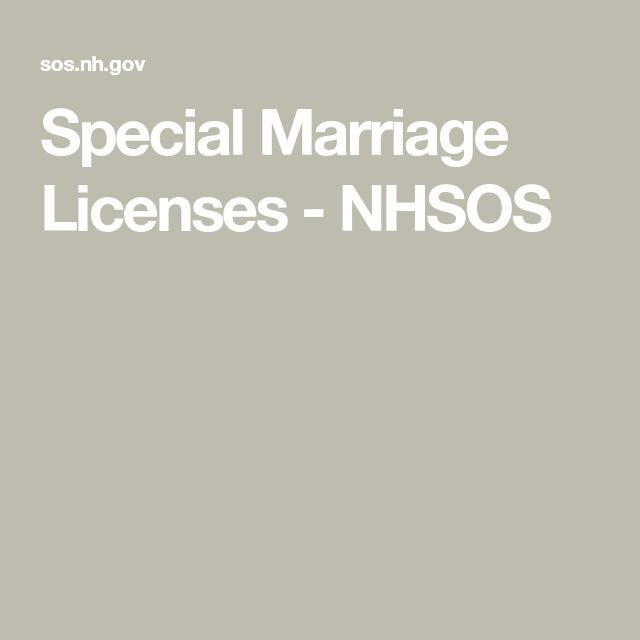 Special Marriage Licenses - NHSOS