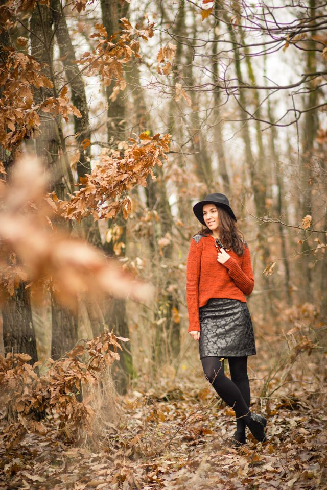leather details hat personal style skirt sweater autumn