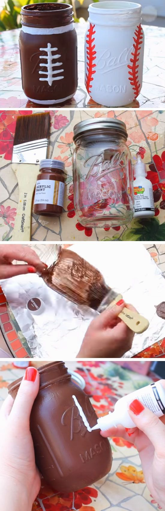 American Football Jar | 12 DIY Fathers Day Gifts for Grandpa from Kids that he will love!