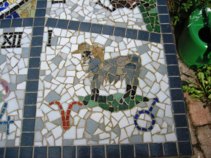 Mosaik stjernetegn Astrologi Vædderen fra havebord - Mosaic Starsign Zodiac Astrology Aries from garden table