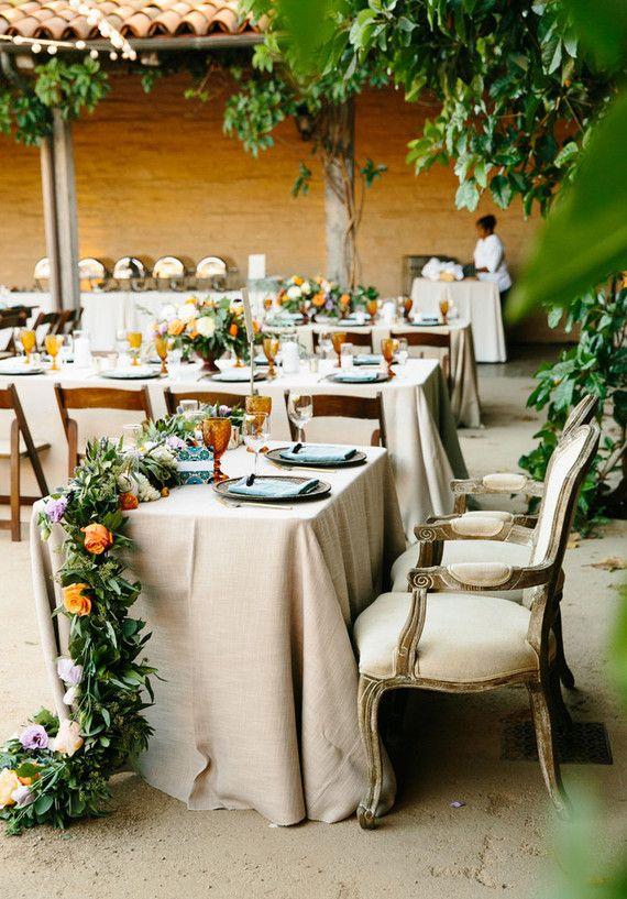 Spanish style wedding sweetheart table