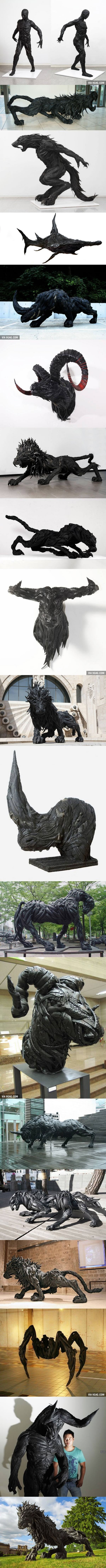 Fantasy   Whimsical   Strange   Mythical   Creative   Creatures   Dolls   Sculptures   Sculptures made from recycled old tires