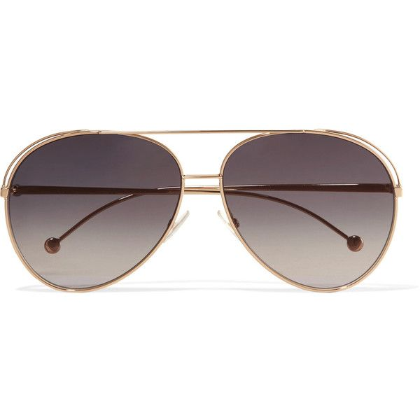Fendi Aviator-style gold-tone sunglasses (€255) ❤ liked on Polyvore featuring accessories, eyewear, sunglasses, fendi glasses, uv protection sunglasses, aviator style glasses, uv protection glasses and fendi sunglasses