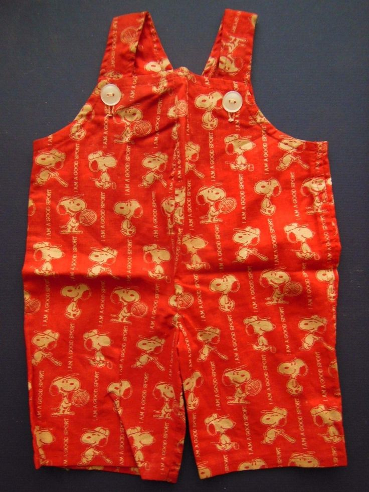 RARE Vintage Peanuts Snoopy Doll clothes 1958 red Overalls Im a Good Sport