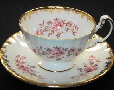 Aynsley England Gold Gilt Glitter Pink Wild Roses TEA CUP AND Saucer | eBay