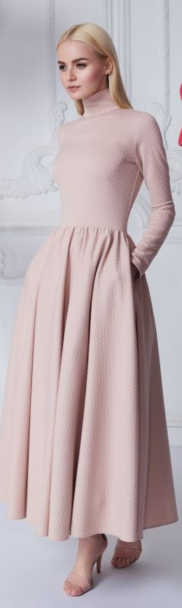 Yulia Prokhorova '16, long sleeved blush dress.