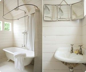 clawfoot tub shower and painted wood walls