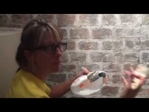 """Oh my goodness!!! I'm soooo doing this with my ugly wall in my living room.   Creating a """"faux"""" brick wall - YouTube"""