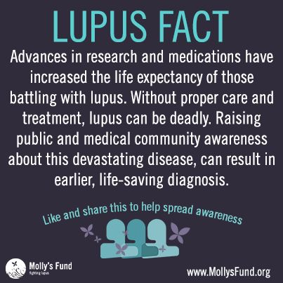 Proper care and treatment coupled with advances in research have dramatically increased the life expectancy for lupus patients. www.mollysfund.org
