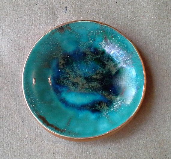 Ceramic small Ring Dish Malachite GREEN edged in gold by dgordon