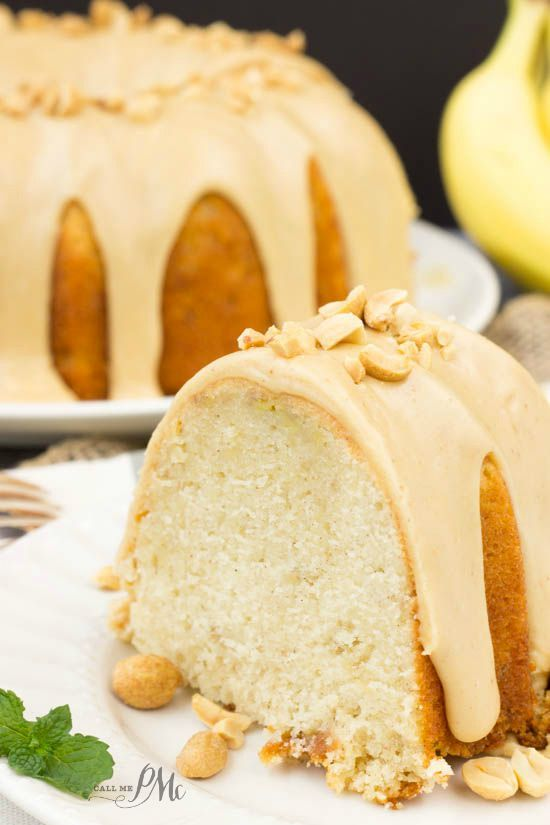 Peanut Butter Glazed Banana Pound Cake recipe is a richer version of ordinary banana bread. Bonus, it's topped with peanut butter! Recipe from Call Me PMc