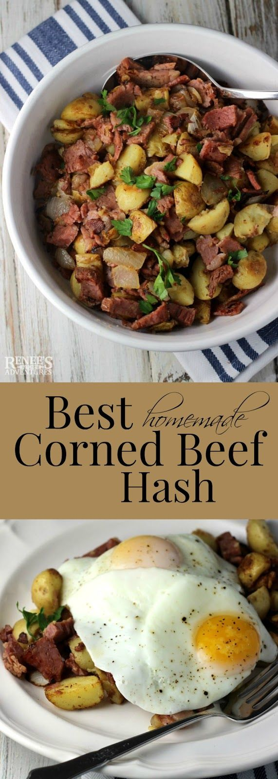 Best Corned Beef Hash | Renee's Kitchen Adventures - easy recipe for homemade corned beef hash. Great for leftovers. Makes a good breakfast, lunch or dinner.