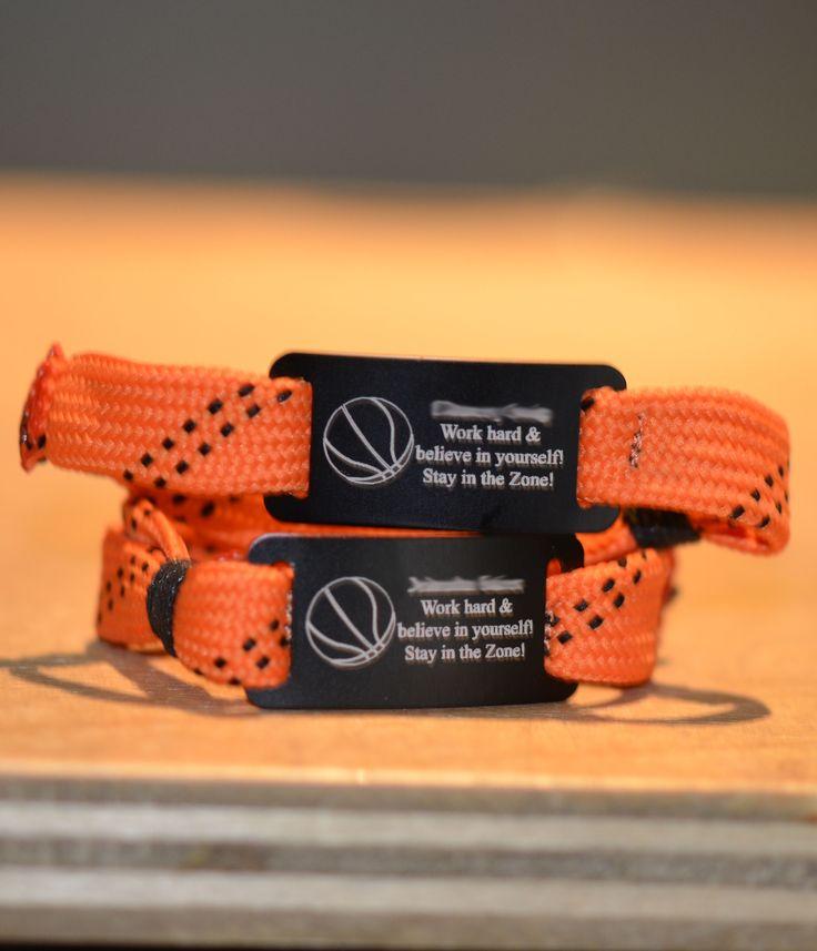 Custom Basketball Lace Bracelet! Makes a great basketball team gift.
