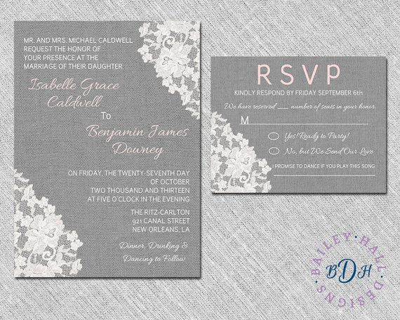 Lace Wedding Invitation  Rustic Linen & Lace by BaileyHallDesigns, $5.00