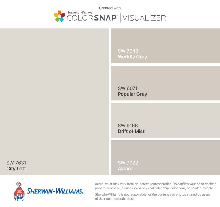 I found these colors with ColorSnap® Visualizer for iPhone by Sherwin-Williams: City Loft (SW 7631), Worldly Gray (SW 7043), Popular Gray (SW 6071), Drift of Mist (SW 9166), Alpaca (SW 7022).