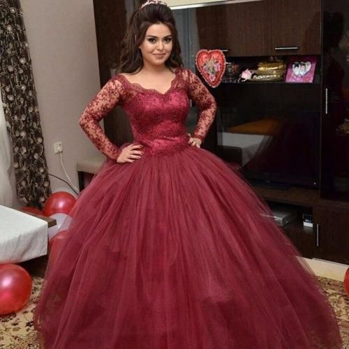 5db3929548e3 Burgundy-Plus-Size-Long-Sleeves-Wedding-Dress-Ball-Gown-Prom-Quinceanera- dress