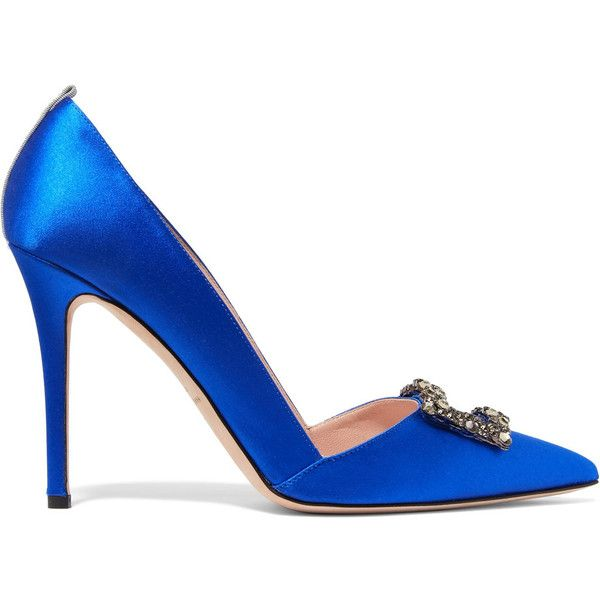 SJP By Sarah Jessica Parker Windsor embellished satin pumps (3,590 GTQ) ❤ liked on Polyvore featuring shoes, pumps, bright blue, pointy toe shoes, pointed toe high heel pumps, embellished shoes, slip on pumps and satin shoes