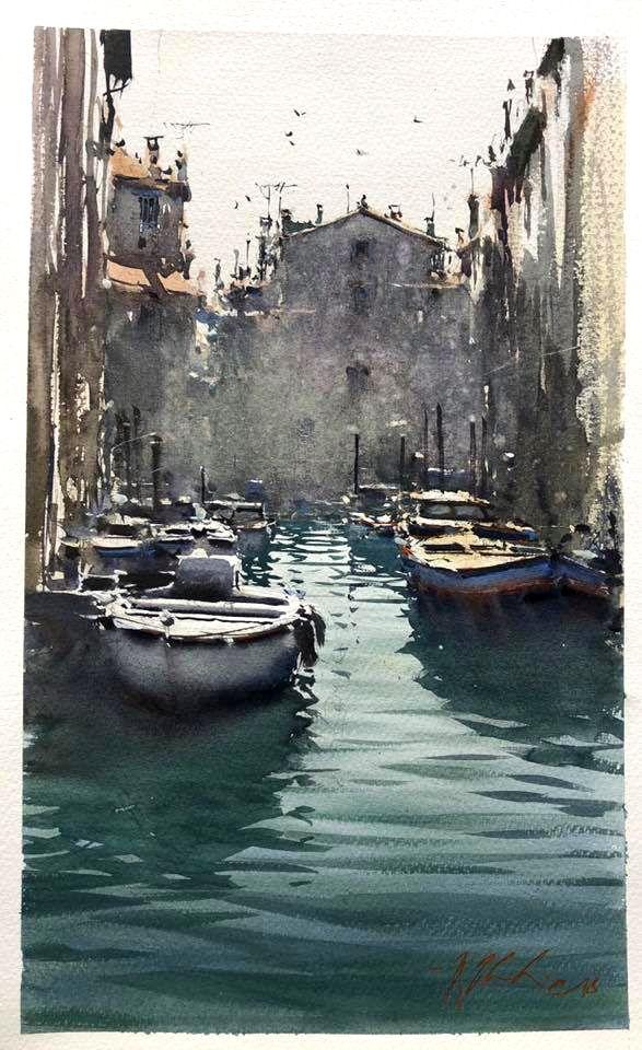 Joseph Zbukvic 2018 Watercolor Art Landscape Venice Painting