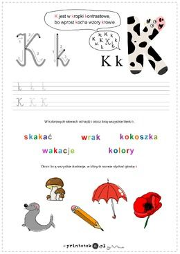Poznaję literę K - Printoteka.pl
