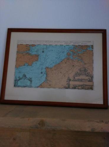 Oude Antieke Prent Zeekaart in Lijst Zeeland Normandie Engeland 1693