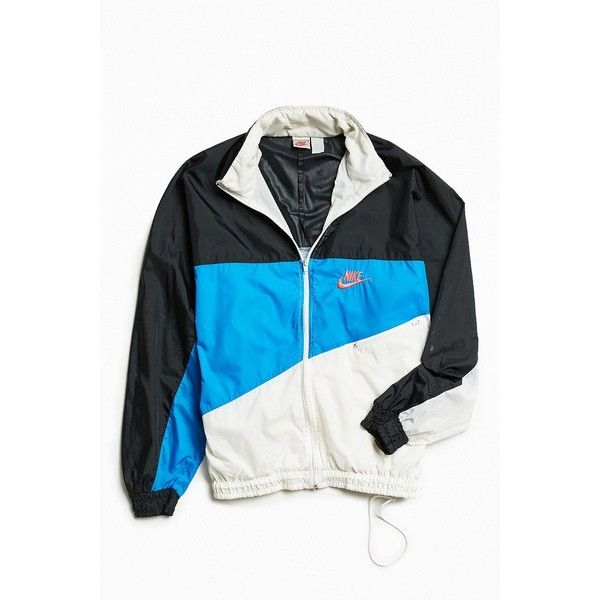 Vintage Nike Windbreaker Jacket ($98) ❤ liked on Polyvore featuring men's fashion, men's clothing, men's outerwear, men's jackets, mens vintage jackets and mens windbreaker jacket